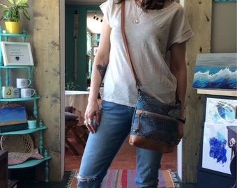 Mini Tote in Hello Bear Cotton with Upcycled Tan Leather Bottom