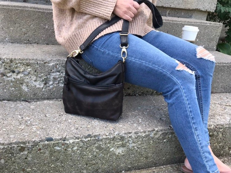 Small Size Flat Tote  Reclaimed Leather  Crossbody Bag image 0