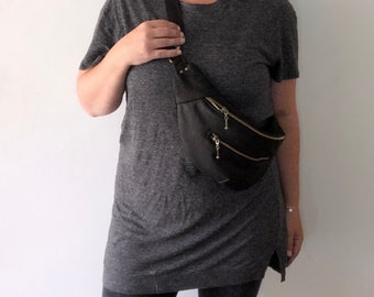 So Comfy Sling - Double Zipped - Upcycled Leather - Crossbody Bag