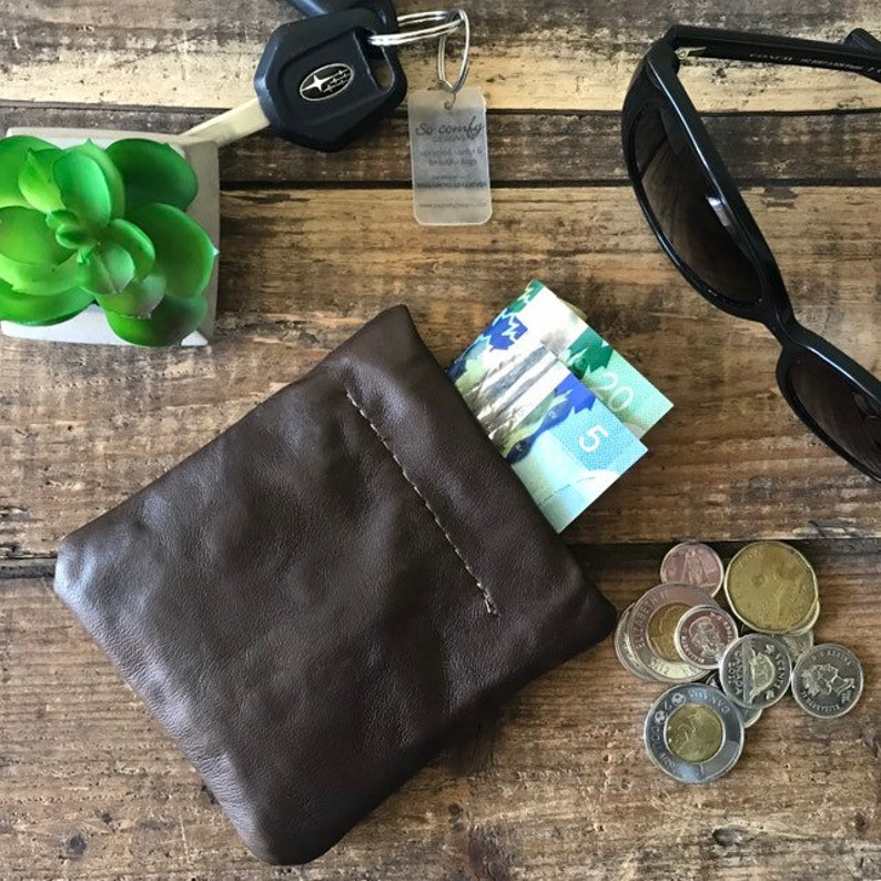 Card & Coin Pouch  Upcycled Leather  Flex Frame image 0