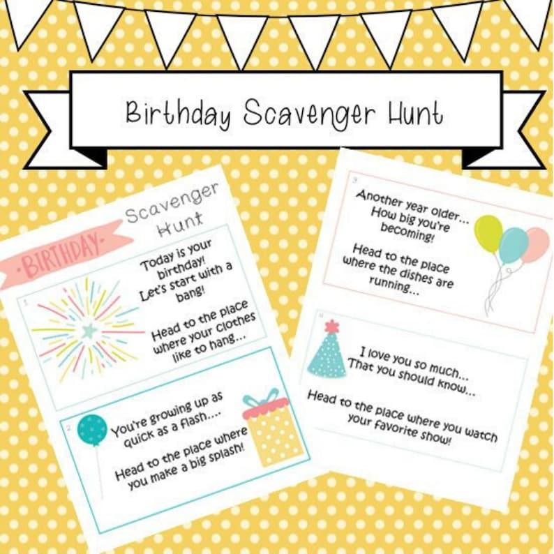 Birthday Scavenger Hunt clue cards kids toddlers scavenger image 0