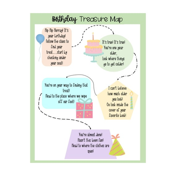 Birthday Treasure Map, Scavenger Hunt, Birthday clues, kids, toddlers, on the dead zone map, the ring map, the dark crystal map, braveheart map, the truman show map, chess map,