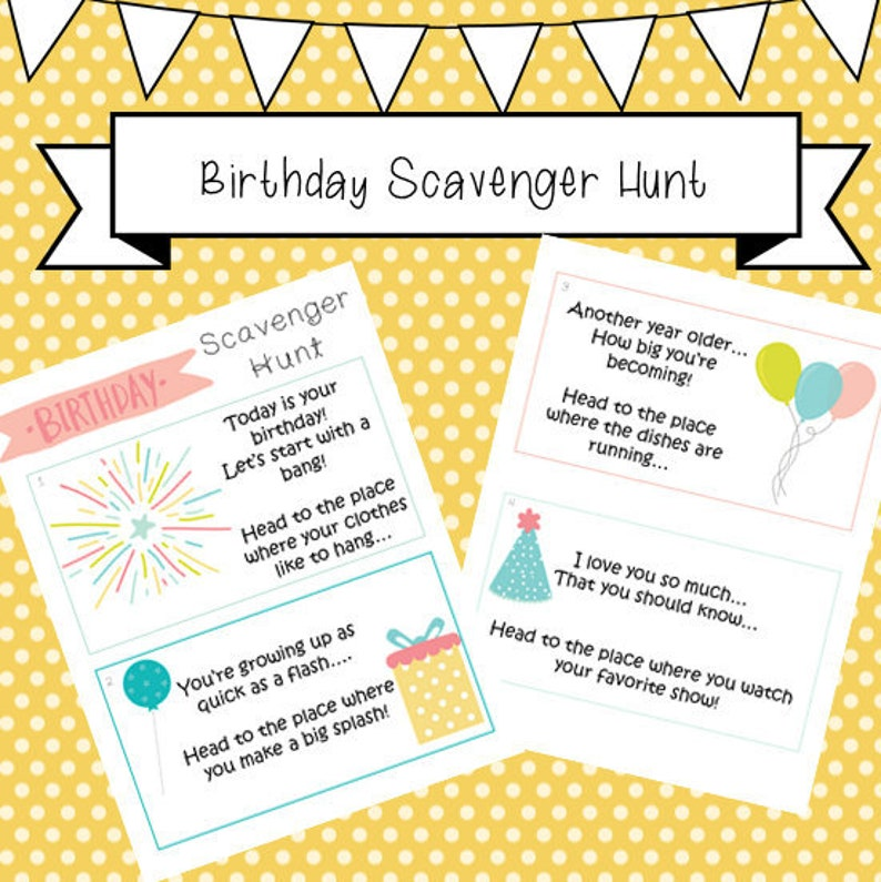 photograph regarding Clue Cards Printable called Birthday Scavenger Hunt, clue playing cards, young children, infants, scavenger hunt clues, printable
