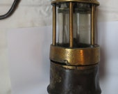 Antique Brass Steel Belgium Miners Lamp all original Ermex Glass Intact Gauze.