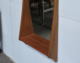 Mid Century Danish Modern Pedersen & Hansen Large Teak Mirror with Shelf