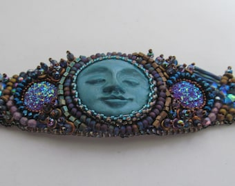 Bead embroidered bracelet, beaded cuff, bead embroidery jewelry, hand made face cabochon,one of a kind bracelet, druzy cabochon bracelet,