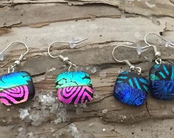 Lampwork  earrings -  blue green earrings - dangle earrings-  stocking stuffers - Christmas gifts -