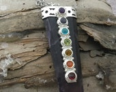 chakra pendant- Om pendant- Aum pendant- amethyst chakra pendant- meditation chakra jewelry- healing stones- spiritual stones- silver chakra