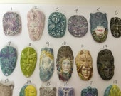 Assorted Cabochons-Bead embroidery faces- doll making faces- faces for jewelry- painted faces for goddess- whimsical face