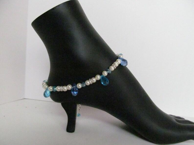 crystal ankle bracelet wedding designation wedding drop anklet lilac ankle bracelet blue ankle bracelet Pearl ankle bracelet