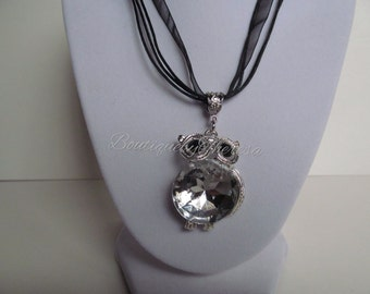 Crystal owl necklace,crystal owl pendant,crystal owl leather and ribbon necklace