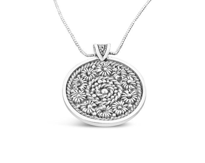 Featured listing image: Norwegian Sterling Silver Filigree Rosettes Custom Pendant, Scandinavian Design Handmade Necklace, Nordic Jewelry for Women