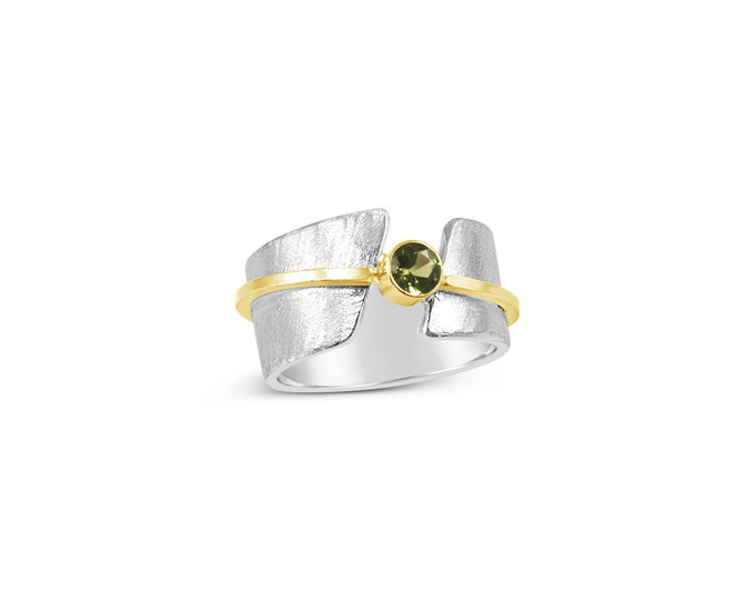 Featured listing image: Norse Aasgard Bridge Ring in Sterling Silver, 18k Gold and Gemstone