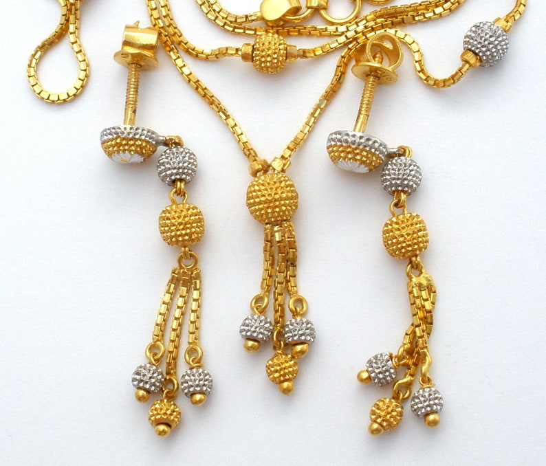 7965201b278 22K Gold Necklace Set, Yellow White Gold, Bead Necklace & Earrings, Tassel  Design, Box Chain, Jewelry Set, Solid 22K Gold, Multi Tone Gold