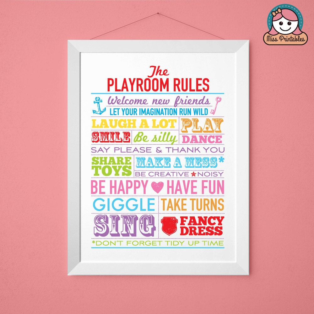 photograph relating to House Rules for Kids Printable identify Playroom Pointers printable poster multi-colored. Instantaneous obtain. Suitable for the childrens area. Hefty 16x20 inches