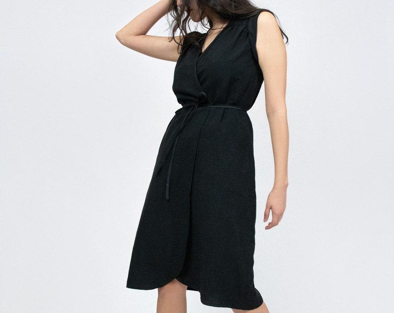 Lucca wrap dress - Black Linen - KAZAK