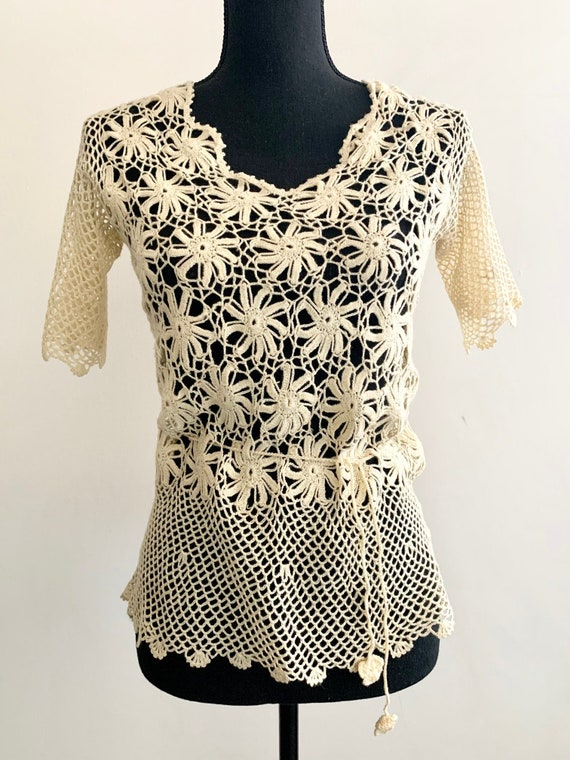 1970s Crochet Lace Top