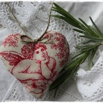 Shabby-Lavender Heart antique Linen fabric with Angel Lavender heart Scent Cushions Gift Mother'S Day handmade by lavendelherzl