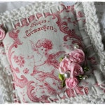 Lavender cushions of antique linen and peasant fabric, decorated with saying and crochet edge, ROSA white VINTAGE shabby chic handmade by lavendelherzl