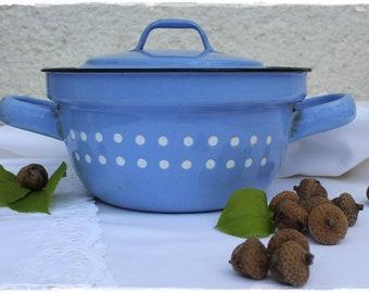 Enamel pot with lid light blue with white dots VINTAGE favorite piece of lavenderherzl