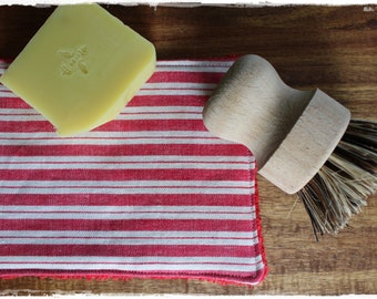 Rinse cloth decorative and eco-friendly in RED white zero waste gift life without plastic handmade by lavendelherzl