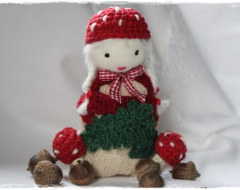 Doll Fly agaric Lucky Charm AUTUMN Decoration Gift sewn and crocheted Unique handmade by lavenderherzl