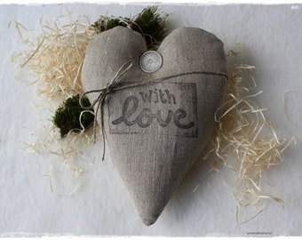 """Lavender heart in antique linen fabric, decorated with """"with LOVE"""" beige VINTAGE shabby chic handmade by lavender heart"""