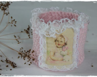 Utensilo basket with cute children's motif and lace country house decoration ROSA shabby chic crocheted handmade by lavenderherzl