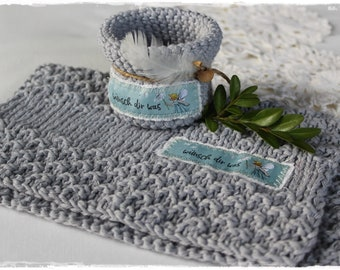 Dishcloth and utensil decorative with acufactum motif grey knitted zero waste gift life without plastic handmade by lavenderherzl