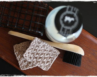 Make-up pads 2 pieces decorative and eco-friendly in beige knitted zero waste gift life without plastic handmade by lavender heart