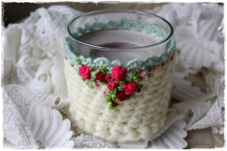 Scented candles sleeve with roses SHABBY chic beautiful gift image 0