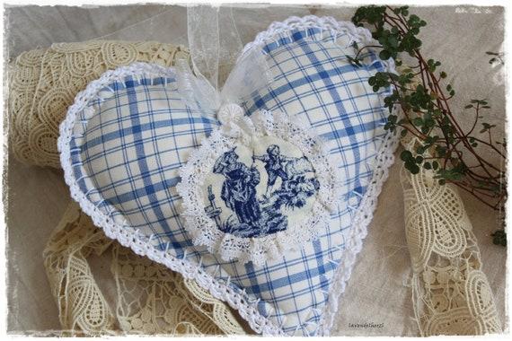 Coeur de lavande vintage blanc shabby chic avec crochet fait main en tissu de lavendelherzl antique tissu bleu Vichy