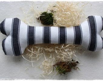 Dog Pillow Toy Bone Cuddly Pillow BLACK white sewn Gift idea handmade by lavenderherzl