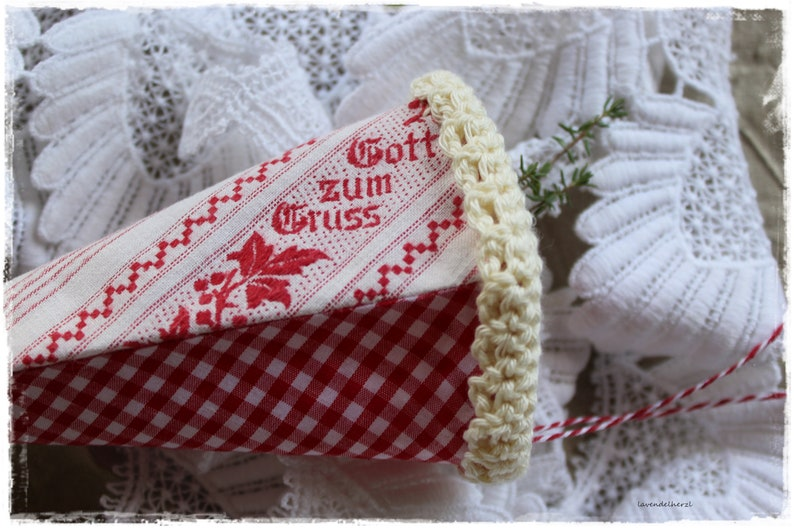 Shabby deco bag VINTAGE style with saying white red gift image 0