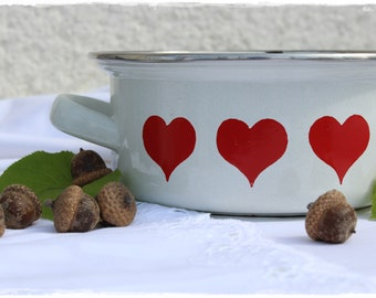 small sweet enamel pot white with red hearts vintage shabby chic decoration planter storage found by lavender heart