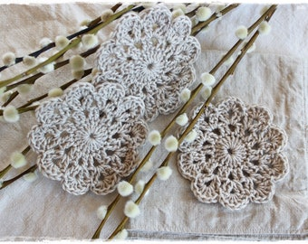 3 coasters BEIGE crocheted handmade cotton country house decoration handmade by lavendelherzl