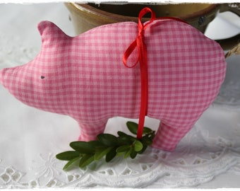 Pig Lucky Charm Gift Pendant Christmas New Year's Eve Decoration Sewn handmade by lavenderherzl