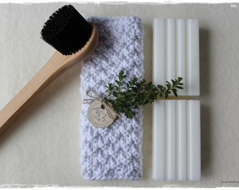 Rinse cloth decorative and eco-friendly in white knitted zero waste gift life without plastic handmade by lavendelherzl