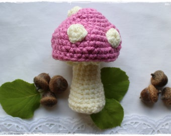 Fly agaric in PINK white autumn decoration 12 cm high crocheted handmade by lavender heart