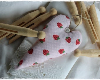 Lavender heart in strawberry fabric gift pendant door wreath country style handmade by lavendelherzl