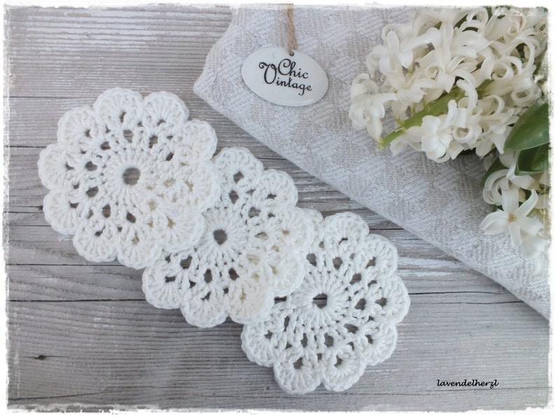 3 Coasters SHABBY white crocheted handmade wool house Deko image 0