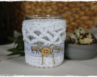 Windlight glass sleeve vase dress WHITE with acufactum ribbon crocheted beautiful gift idea handmade by lavendelherzl