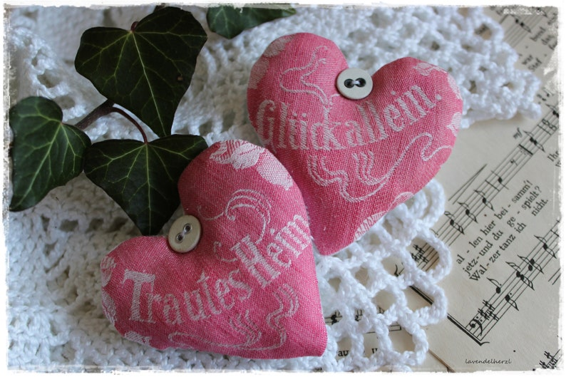 Shabby-2 Lavender Hearts made of antique Linen fabric with image 0