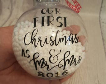 Our first Christmas as Mr and Mrs.... bauble, Christmas, personalised