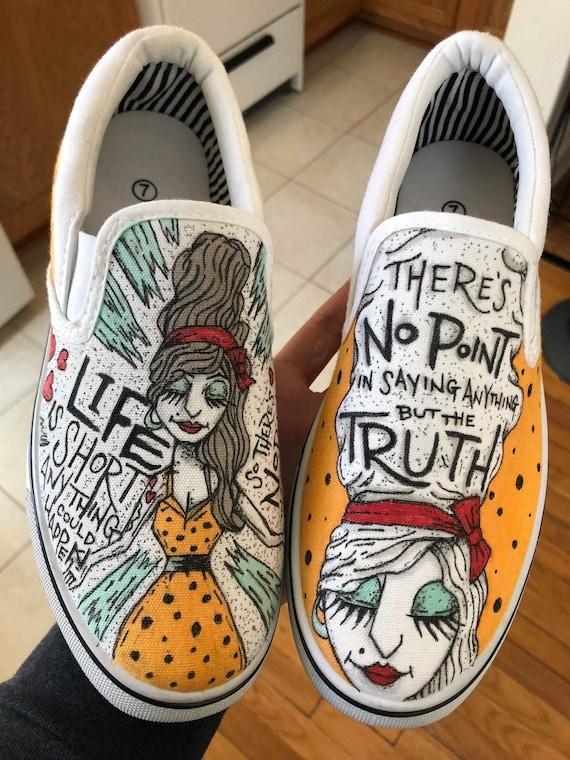 Custom shoes hand drawn on white Vans