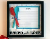 Gift for Mom - Baked with Love - Framed Wall Art - Vinyl Wall Decor Quote - Vintage Recipe - Framed Saying - Recipe Card - Kitchen Utensils