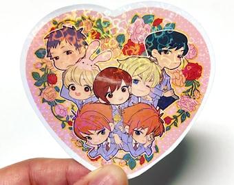 OHSHC Ouran High School Host Club Holographic Glitter Sparkle Heart Sticker
