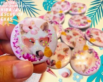 Hot Girl Summer Anzu the Cream Shiba Inu Holographic Rainbow Iridescent Sparkle Glitter Sprinkle Pin Button