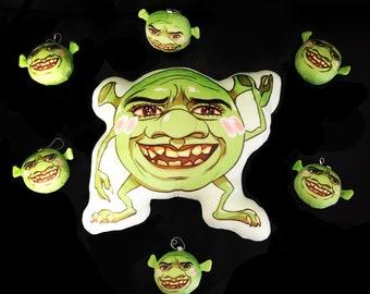 Shrek Wazowski Cursed Meme Round Plush Stress Ball Keychain Toy Stocking Stuffer