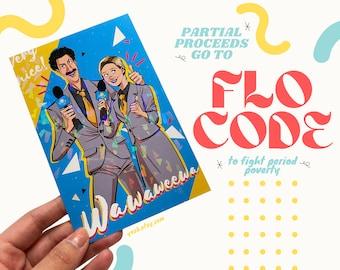 "Borat & Tutar Sagdiyev Subsequent Moviefilm Holographic Cartoon Portrait 4"" x 6"" Postcard Art Print Illustration Donation"